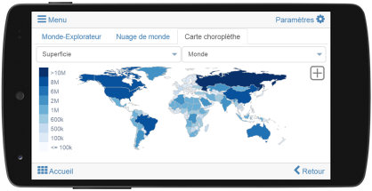 Carte choroplèthe: PIB, superficie, population, ...
